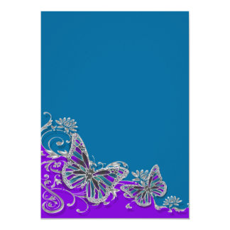 "Purple blue wedding butterfly floral 5"" x 7"" invitation card"
