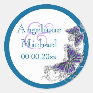 Purple blue wedding butterfly floral sticker