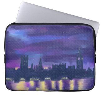 Purple Blue Yellow Art Sunset Over London Painting Laptop Sleeve