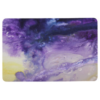 Purple blue yellow colorful abstract splatters floor mat