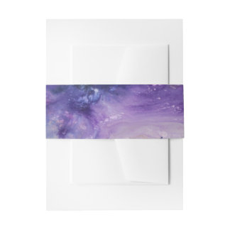 Purple blue yellow colorful abstract splatters invitation belly band