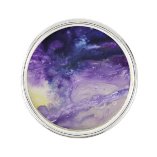 Purple blue yellow colorful abstract splatters lapel pin