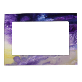 Purple blue yellow colorful abstract splatters magnetic frame