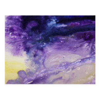 Purple blue yellow colorful abstract splatters postcard