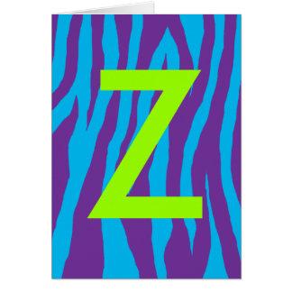 Purple & Blue Zebra Print Greeting Card