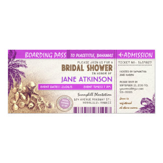 purple boarding pass tickets for Bridal Shower 10 Cm X 24 Cm Invitation Card