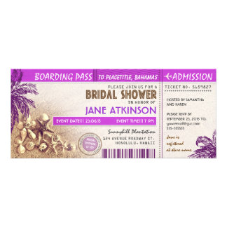 purple boarding pass tickets for Bridal Shower Invites