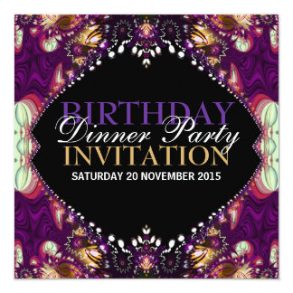 Purple Bohemian Birthday Dinner Party Invitation