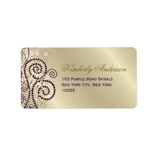 Purple Boho Spirals Birthday Wedding Address Label