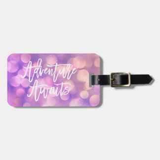Purple Bokeh and Typography | Adventure Awaits Luggage Tag