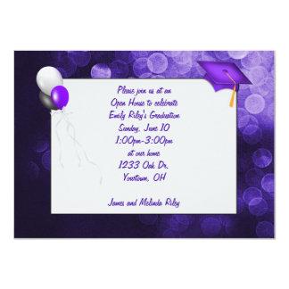 "Purple Bokeh Graduation 4.5"" X 6.25"" Invitation Card"