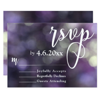 Purple Bokeh Light & Typography 32 RSVP Card