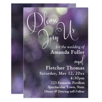 Purple Bokeh Light & Typography 32 Wedding 2 Card