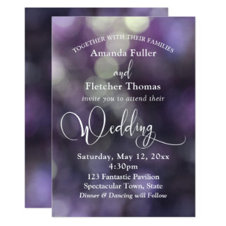 Purple Bokeh Light & Typography 32 Wedding 3 Card