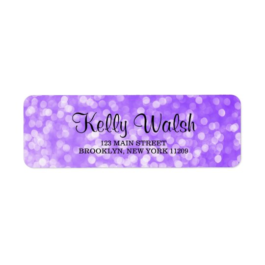 Purple Bokeh Lights Sweet 16 Return Address Labels