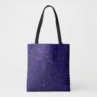 Purple Bokeh Stars Tote Bag