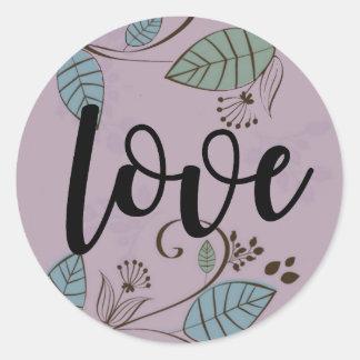 Purple Bold Boho Love Sticker with Leaves Vines