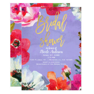 Purple Bold Painted Floral Pop Gold Bridal Shower Card