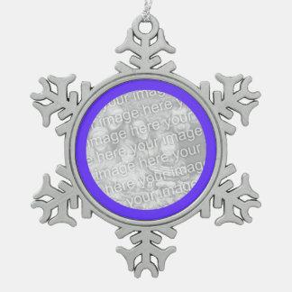 Purple Border Snowflake Pewter Christmas Ornament