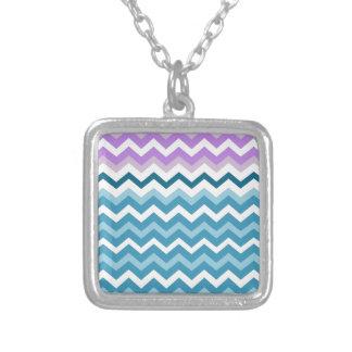 Purple Bordered Chevron Blue and White Zigzags Square Pendant Necklace