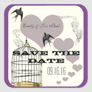 Purple Borders Bird Cage & Hearts Weddings Square Sticker