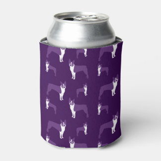 Purple boston terrier can cooler