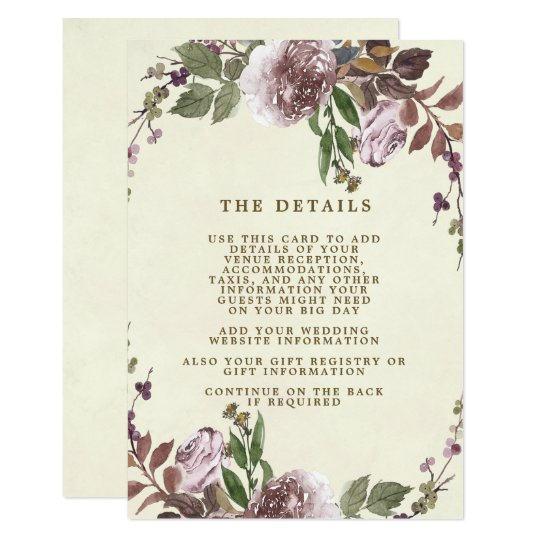 purple botanical wedding details information card