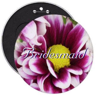 Purple Bouquet Bridesmaid Pinback Buttons