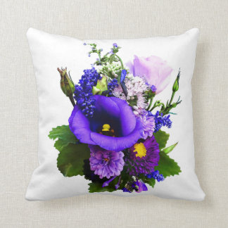 Purple Bouquet With Lilies And Delphinium Cushion