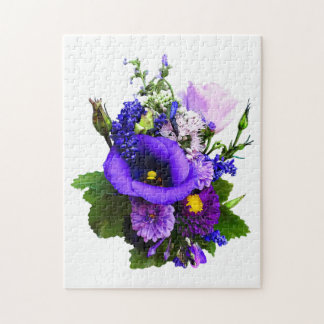 Purple Bouquet With Lilies And Delphinium Jigsaw Puzzle