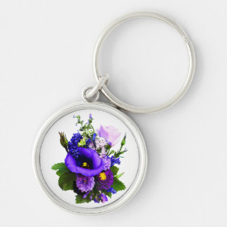 Purple Bouquet With Lilies And Delphinium Key Ring