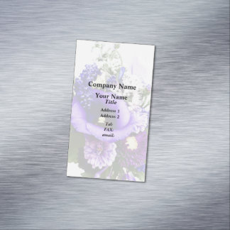 Purple Bouquet With Lilies And Delphinium Magnetic Business Card