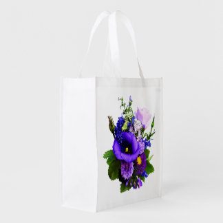 Purple Bouquet With Lilies And Delphinium Reusable Grocery Bag
