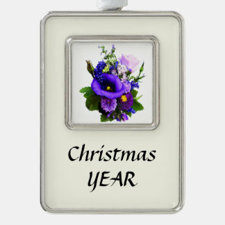 Purple Bouquet With Lilies And Delphinium Silver Plated Framed Ornament