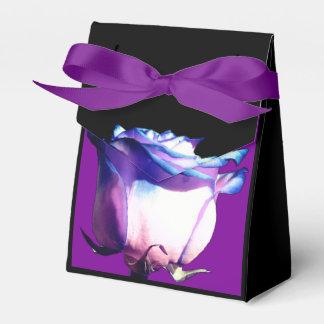 Purple Bow accent Blue Rose on Black Favour Box