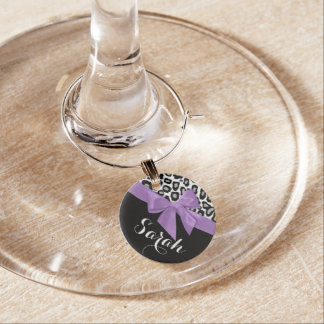 Purple Bow and Leopard Spots with Name Wine Charm