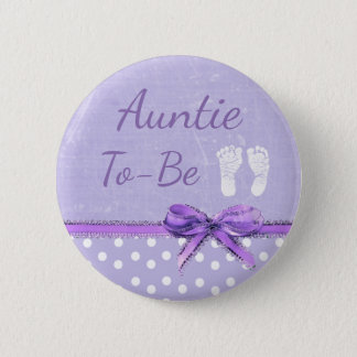 Purple Bow Aunt to be Baby Shower Button