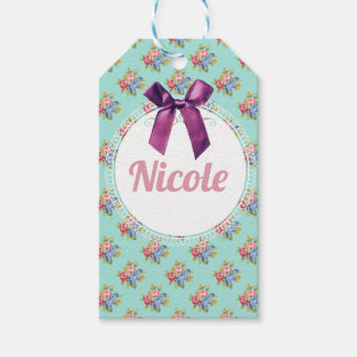 Purple Bow Blue Floral Personalized Pattern Gift Tags