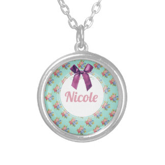 Purple Bow Blue Floral Personalized Pattern Silver Plated Necklace
