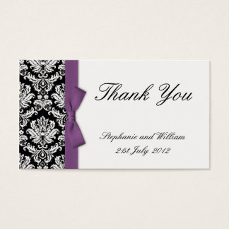 Purple Bow Damask Thank You Cards