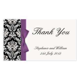 Purple Bow Damask Thank You Cards Pack Of Standard Business Cards