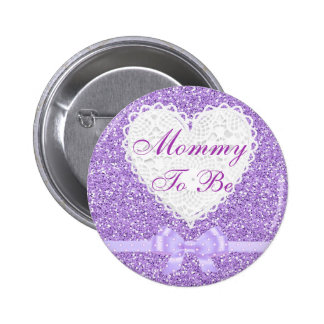 Purple Bow Mommy to be Baby Shower Button