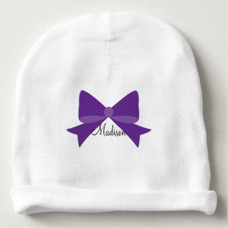 Purple Bow Monogram Baby Beanie