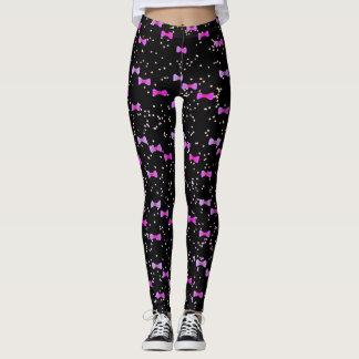 Purple Bow Tie Watercolor Kawaii with Cute Dots Leggings