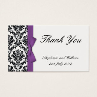 Purple Bow with Damask Thank You Cards
