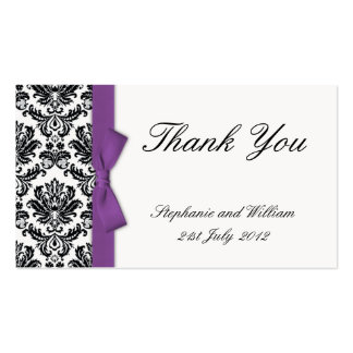 Purple Bow with Damask Thank You Cards Pack Of Standard Business Cards
