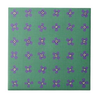 Purple Brassica Flower Pattern on Tile Trivet