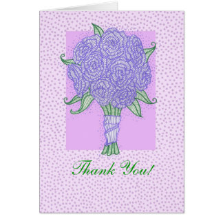 Purple Bridal Shower Bouquet Thank You Greeting Cards
