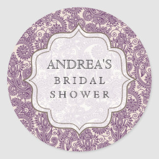 Purple Bridal Shower Dessert Table Tag Label Classic Round Sticker