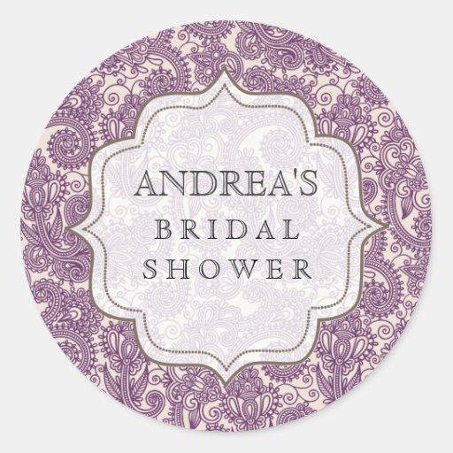 Purple Bridal Shower Dessert Table Tag Label Stickers
